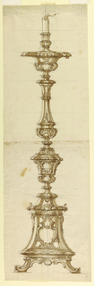 Drawing, Design for a Silver Candl, 1725–40