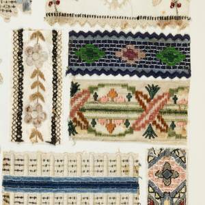 Ledger containing samples of machine embroidered trimmings.