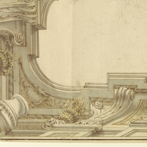 One quarter view of ceiling is shown. The top of a wall and an entablature are shown from underneath. The parapet forms niches which are filled with escutcheons. A band of ornament separates the ceiling into two reserves. In the left one, there are loose figural sketches.