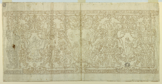 Horizontal format. Above and below are mouldings. The field is divided into strips. In the upper one stand four escutcheons; the lateral apses in which Evangelists sit, St. Mark being one of them, are not entirely shown. In the lower strip are three escutcheons, the points of which are in the upper strip. Represented in the center one: the Annunciation. At left: King David or Solomon; at right, probably Moses with the tablets. Angels sit upon the lower lateral scrolls of the central escutcheons, others carrying festoons fly beside it. Below the escutcheons stand small ones, with the sun and star, and the moon, respectively. In the lower strip, at the corners of the mensa, are suggested at left: volutes with half-figures of angels as caryatids of the upper escutcheons. At right: volute balusters with cherubim on top.