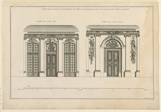 "Elevations of the two vestibules, each with a double door. The one, at left, has windows flanking the door. The second, at right, without windows. The lateral bays decorated with trophies of war. Similar decoration on both ceiling coves. Inscribed, upper margin: ""Decorations intericures des Vestibules de l'Hôtel de Roquelaure à Paris du dessein de M. le Roux Architecte""; lower right: ""Mariette excu."""