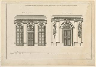 """Elevations of the two vestibules, each with a double door. The one, at left, has windows flanking the door. The second, at right, without windows. The lateral bays decorated with trophies of war. Similar decoration on both ceiling coves. Inscribed, upper margin: """"Decorations intericures des Vestibules de l'Hôtel de Roquelaure à Paris du dessein de M. le Roux Architecte""""; lower right: """"Mariette excu."""""""