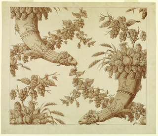 Drawing, Cartoon for Silk Damask: Cornucopias with Rams' Heads