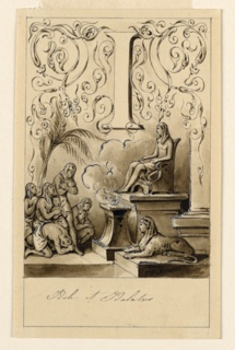 Letter above, flanked by intertwining rinceau. Worshippers in a temple of Isis.