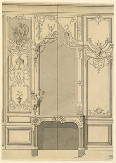 The left half includes a candle bracket showing a child holding two scrolls topped by sockets; a medallion with the bust of a woman under a canopy; a painting with a woman and two children one of whom is Cupid. The decoration is sparser in the right half. Bottom margin; plans of the mantelpiece.