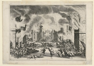 """Horizontal rectangle. The same scene as Act I, with a fire raging, flames and smoke issuing from doors and windows. Below, in the streets, a battle with troops scattered and in groups. The two main characters labeled: """"Ac. and Ad."""" (Acmat and Adraste) in the foreground."""