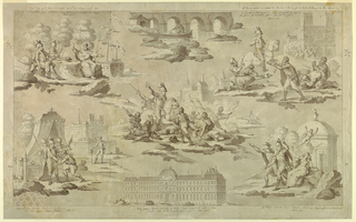 "Scenes from the life of Henri IV (1553-1610), King of France, as described in Voltaire's ""Henriade"": scene 1, upper left: Henri and his friend, Duplessis-Mornay, are seated near the port of Dieppe, conversing with a holy hermit (Canto, lines 229-232); scene 2, upper right: Henri, entering Paris in triumph, is received by his subjects (Canto X, lines 512-514); scene 3, center: Henri in the Battle of Ivry, in which the Duc de Mayenne was defeated and the Earl of Egmont slain (Canto VIII, lines 180-181); scene 4, lower left: before his tent on the battlefield outside Paris, Henri counsels the Chevalier d'Aumale before his duel with Henri, Vicomte de Turenne (Canto X, lines 48-49); scene 5, lower right: Henri taking leave of his mistress, Gabrielle d'Estrees, before the Temple of Love, returns with Mornay to his army (Canto IX, lines 344-348). At the top of the design is the Pont Neuf, and at the bottom, the Pavillon Henri IV of the Louvre, signifying the public works carried out in Paris by the monarch. Voltaire's couplets are included (in ink) with each scene."