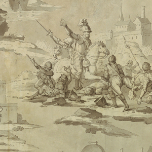 """Scenes from the life of Henri IV (1553-1610), King of France, as described in Voltaire's """"Henriade"""": scene 1, upper left: Henri and his friend, Duplessis-Mornay, are seated near the port of Dieppe, conversing with a holy hermit (Canto, lines 229-232); scene 2, upper right: Henri, entering Paris in triumph, is received by his subjects (Canto X, lines 512-514); scene 3, center: Henri in the Battle of Ivry, in which the Duc de Mayenne was defeated and the Earl of Egmont slain (Canto VIII, lines 180-181); scene 4, lower left: before his tent on the battlefield outside Paris, Henri counsels the Chevalier d'Aumale before his duel with Henri, Vicomte de Turenne (Canto X, lines 48-49); scene 5, lower right: Henri taking leave of his mistress, Gabrielle d'Estrees, before the Temple of Love, returns with Mornay to his army (Canto IX, lines 344-348). At the top of the design is the Pont Neuf, and at the bottom, the Pavillon Henri IV of the Louvre, signifying the public works carried out in Paris by the monarch. Voltaire's couplets are included (in ink) with each scene."""