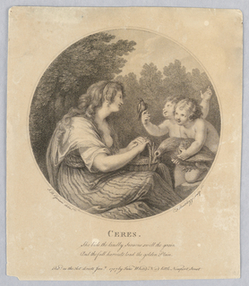 Ceres sits facing two boys at the right, one carrying a big bird, the other allowing a small bird to perch on his hand. She holds a basket; woods beyond.