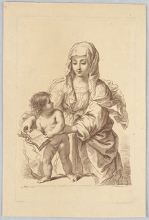 The Child stands on a table at the left, His head turned toward His Mother. The Virgin stands behind Him, with Her hands supporting Him and the book.