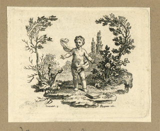 Print, A Boy Standing Between a Thistle Plant and a Rose Bush, 1760