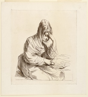 Woman seated, half turned to the right. Her left hand to her forehead, her right pointing to a sentence in the book to her left. A shawl overhead.