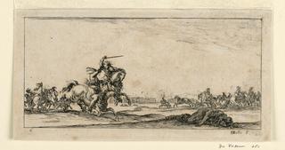 """Print, Plate 6, from """"Desseins de Queleques Conduites de Troupes, Canons, et Ataques de Villes"""", 1610-1664"""