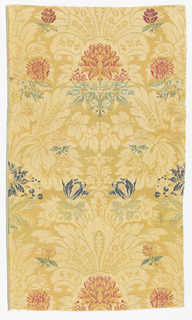 Large-scale pattern in yellow of rows of floral forms in alternating vertical alignment. Sprigs of flowers in blue, red, green, or ivory.