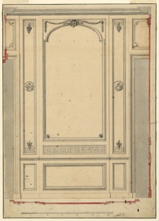 The projecting central section shows probably a frame of mirror over a moulding. Pilaster strips with circular medallions showing children, laterally. Dad underneath. Outside are parts of door openings with overdoor. Section of the mouldings. Bordering ink lines.