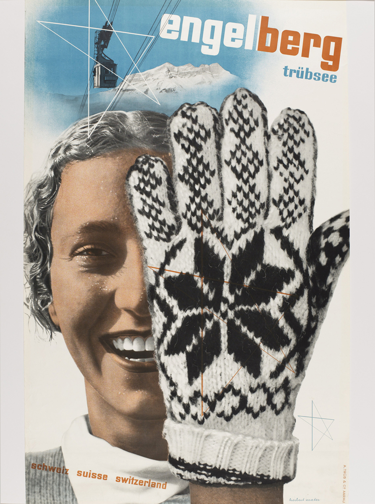 Image consists of an immense gloved hand half covering and obscuring the smiling face of a young woman on the left. Her face is swathed in a unified brown tone that underscores the graphic flatness of the poster. Behind her to the left, a lone ski-lift seat swings above the distant peaks of the Alps at Engleberg, Switzerland, specifically the ski run Trübsee, identified by the sans-serif letters at the upper right. The star motif emblazoned on the glove is subtly echoed by the linear stars that seem to hover at the lower right, across the glove itself and finally, just below the tram in the air at the upper left.