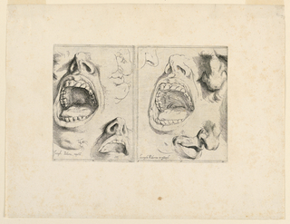 Print, Studies of features, 1622