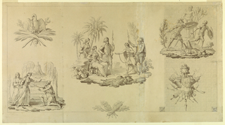 The design for a textile shows three scenes from an unidentified play or novel of historical subject. Lower left: a bearded figure kneel in supplication before two women, with a tomb monument in the background; center, a prisoner in chains, accompanied by two soldiers, is brought before two women, in a tropical setting with palm trees; upper right, two artmed soldiers flee from a third, apparently slain, with the statue of the Farnese Hurcules in the background. Three trophies complete the composition: articles of war and peace; lower right, a trophy composed of armor. A single indication for ground patterning is given.