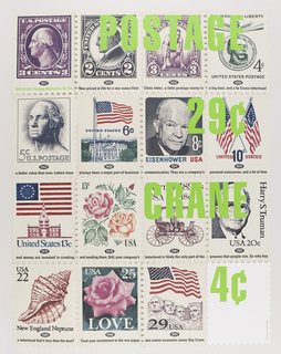 "Four rows of stamps (each 11 x 8 1/2 in.) across and four rows down, with perforations between them and on edges of the poster (as found on sheets on stamps).   Each stamp represents the year that the postage increased from 3¢ in 1917 to 29¢ in 1991.  Reading from upper left to right: profile image of George Washington, 1917; Warren Harding, 1919; a sprinter, 1932; ? Kossuth, Governor of Hungary, 1953;/ three-quarter view of George Washington, 1963; U.S. flag over White House, 1968; Dwight Eisenhower, 1971; 2 U.S. flags crossed, 1974;/ flag of 13 colonies over the capitol, 1975; 2 roses, 1978; a carriage in profile, 1981; Harry S. Truman, 1981 ;/ New England Neptune, 1985; a rose and ""Love,"" 1988; U.S. flag flying over Mount Rushmore, 1991; blank stamp."