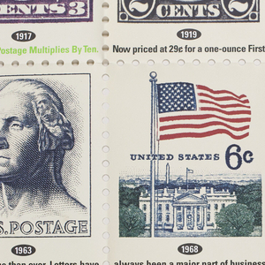 """Four rows of stamps (each 11 x 8 1/2 in.) across and four rows down, with perforations between them and on edges of the poster (as found on sheets on stamps).   Each stamp represents the year that the postage increased from 3¢ in 1917 to 29¢ in 1991.  Reading from upper left to right: profile image of George Washington, 1917; Warren Harding, 1919; a sprinter, 1932; ? Kossuth, Governor of Hungary, 1953;/ three-quarter view of George Washington, 1963; U.S. flag over White House, 1968; Dwight Eisenhower, 1971; 2 U.S. flags crossed, 1974;/ flag of 13 colonies over the capitol, 1975; 2 roses, 1978; a carriage in profile, 1981; Harry S. Truman, 1981 ;/ New England Neptune, 1985; a rose and """"Love,"""" 1988; U.S. flag flying over Mount Rushmore, 1991; blank stamp."""