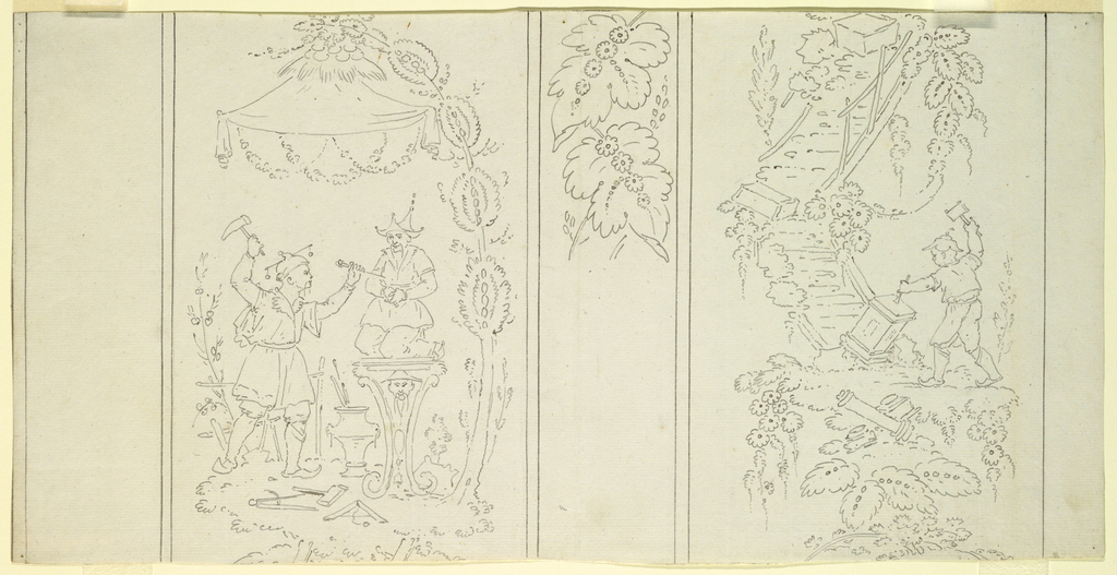 "Joined horizontally with 1898-21-26A. Two parallel panels, separated by strips indicated to bear fantastic leaves place in alternating sequence, shown in the ""style chinois"": upper left, two mandarins seated on a bench under a canopy at the top of a flight of crooked steps, the one playing a lute and the other holding a book in his lap, musical instruments on the ground and a dancing figure at the bottom of the steps (symbolizing Music); lower left: a mandarin is seen sculpting a statue of a seated mandarin, under a canopy (symbolizing Sculpture); upper right: a mandarin is seated under a canopy painting the portrait of a seated lady, above, a flight of crooked steps on which an assistant is seen mixing colors (symbolizing Painting); lower left: a Chinaman is chiseling a pedestal, beside him lie fragments of classical architecture, and other blocks are strewn on a flight of crooked steps, above (symbolizing Architecture)."