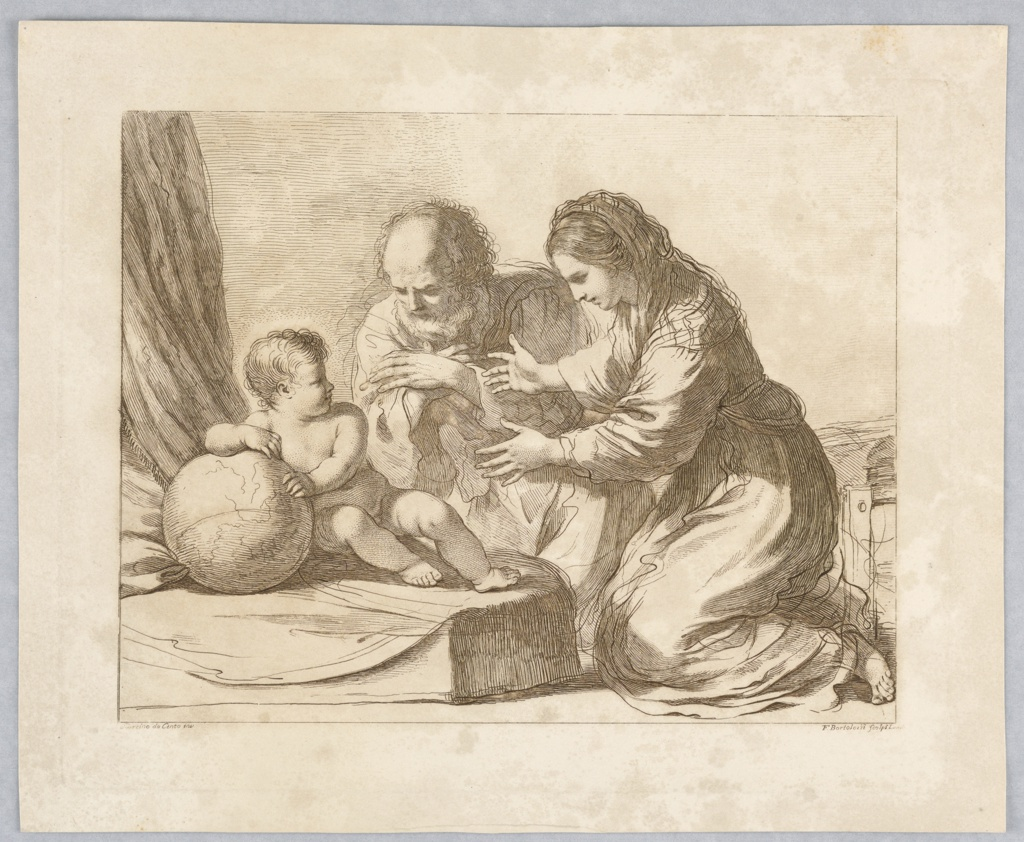 The Child sits at left with hsi back to a curtain and leans on the Globe. The Virgin at right, reaches out to him, with Joseph between and in back of them. Below, the artist' names and place of publication.
