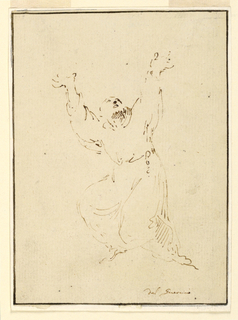 A friar in the gesture of kneeling down, raising both arms and looking upwards.