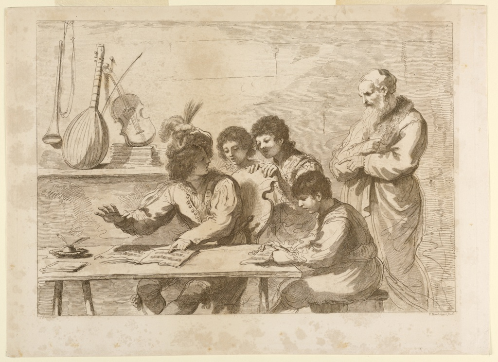 Four boys, grouped around a table; two are seated with music in front of them. An old man, right, points to the instruments – mandoline, violin and a brass instrument on a shelf attached to the wall.