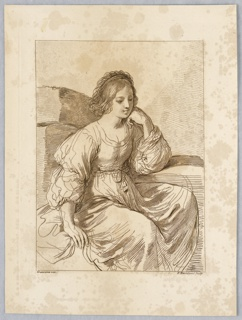 The lady sits in a high backed seat, her h ead on her left hand, her left elbow resting on an arm of the seat. She faces right in a contemplative attitude with her right hand on the seat beside her.