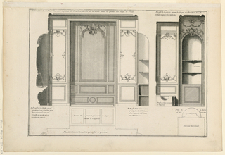 "Paneling of the toilette-room with designs of seals below. A corner niche with shelves and closet below. Paneling with curved outline horizontally. Inscribed, upper margin: ""Decoration du cabinet d'aisance du Palais de Bourbon, du côté de la niche  dans la quelle est logé le siege. Profile de la niche ou est le siège […] / tablettes"". Explanations of drawings inscribed, lower right: ""Mariette exc."""
