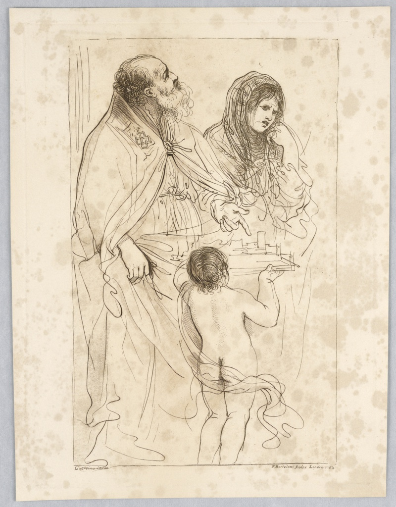The old man, with a beard and heavy cloak st ands at left, pointing to the model of the town held by the boy. The woman, behind right, looks down, her cheek to her hand. The boy, center, has his back to the observer.