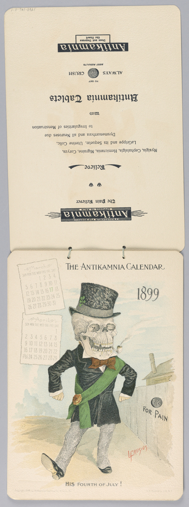 1899 Calendar bound by string 2-1: January/February 2-2: March/April 2-3: May/June 2/4: July/August 2/5: September/October 2/6: November/December