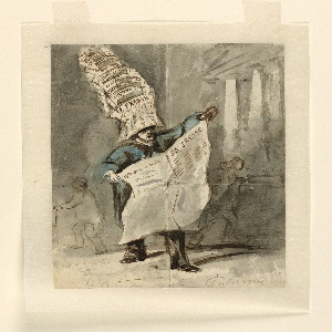 """Vertical rectangle. A man shown in 3/4 view, standing and holding in front of him an open newspaper marked """"La Presse."""" He wears a blue coat or smock, black trousers, and on his head a hat formed of tiers of newspapers. Behind him, sketchy outlines of figures passing in either direction, and the exterior of a building with columns at right."""