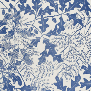 All-over pattern of oak leaves and acorns. Printed in deep blue on a white ground.