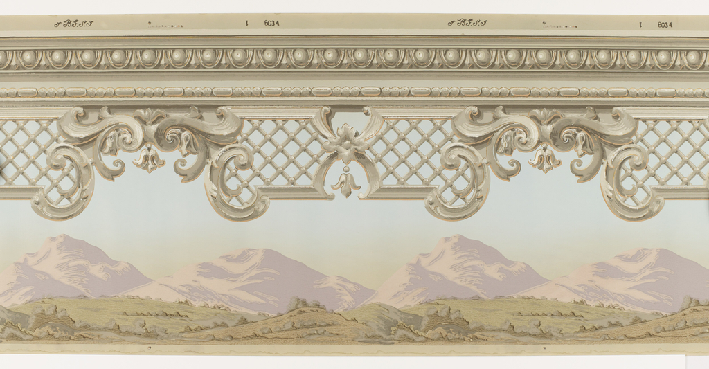 Landscape frieze with architectural molding containing egg-and-dart and beading at top edge. Beneath this are C scrolls and diamond diaper lattice. In the distance are rolling hills and purple mountain tops. Printed in lavender, green, taupe, blue and metallic gold on a taupe ground.