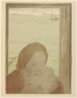 Lower half, bust of woman holding infant in her arms. Upper half, sea with ships and distant hills.
