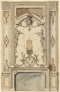 The over mantel shows a clock upon a bracket over a flat pedestal upon which a masked figure and musicians. Half-figures project out above the over mantel; the left one is a girl with a violin, the right one, a man playing a flute.