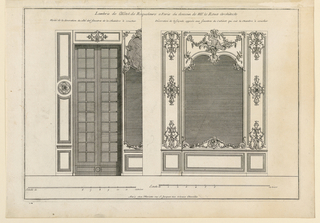 "Elevations of the two walls. bedroom, at left, a window with a mirror at right. At right, a section of the wall with a great mirror with narrow paneling. Rich carvings of acanthus scrolls. Inscribed, upper margin: ""Lambris de l'Hotel de Roquelaure a Paris du dessein de Mr. le Roux Architecte / meitié de la decoration du côté des fenêtres du cabinet qui suit la chambre à coucher""; lower margin, center: ""A Paris chez Mariette rue S. Jacques aux colonnes d'Hercules""."