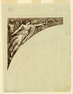 """Left half; a triangle with a Nike holding in her outer hand a bar with a trophy, and in her inner hand a wreath. The outlines of the arch and of the case, and the keystone are sketched. Inscribed in black chalk: """"fama del arco""""."""