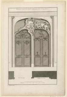 """Print, Plate 4, """"Decoration d'une Portal double à placards varie de deux façons"""""""
