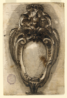Design for an oval escutcheon crowned with a cherub and shell.