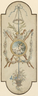 Design for a panel with semi-circular ends, top, and bottom. A trophy of pastoral objects and a flower basket are suspended from a bracket. A circular medallion is in the center, showing Cupid having shot an arrow and standing on clouds. The doves of Venus are beside him at left. Tops of trees in the right distance. Framing line and striped. Verso: green crayon scribbling and scrolls.