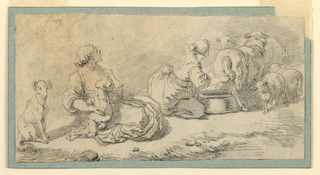Composition is disposed in a diagonal from the lower left to the upper right corner: a sitting dog, a seated girl with a baby. Another girl in the background is milking a sheep. Lambs and more sheep are shown.