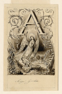 Letter A, flanked by intertwining rinceaux, positioned above a landscape. A child in a cradle floating on a stream, watched over by an angel above.