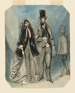 Vertical rectangle, bevelled corners. A couple promenading arm in arm viewed frontally. Woman dressed in a silk hoop skirt with a hip-length black velvet jacket; man in afternoon clothes, high silk hat. At right, view from the back of a male figure walking in opposite direction.