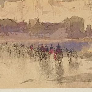 A group on horseback is crossing a low point of the river in center foreground, while tall white cliffs rise at left. In the distance, a low rise of rock outcroppings in mauve tones is silhouetted against a backdrop of ivory colored peaks under a heavy blue sky.  Verso: Sketches of three small objects in graphite.