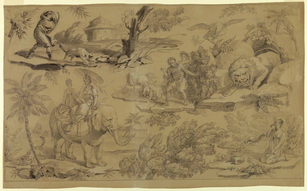 The design comprises four scenes taken from Les Fables of Jean de La Fontaine, first published in 1668: upper left, The Oak and the Reed (BookI, No. 22); supper right, The Elephant and the Lion (Book VI, No. 1); lower left: The Rat and the Elephant (Book VIII, No. 15); and lower right, The Dairy-Maid and the Pot of Milk (Book VII, No. 10).