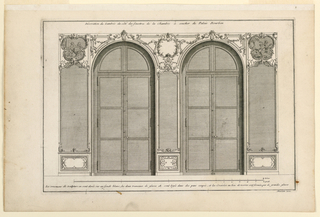 "View of a section of wall with two windows. The three panelings all with mirrors. Above two of them, paintings in frames composed of scrolls. The central one without a painting. Panels below mirrors decorated with small scroll design. Inscribed along upper margin: ""Decoration du Lambris du coté des fenetres de la chambre à coucher du Palais Bourbon""; lower margin: ""Les ornamens […] grandes glaces""; lower right: ""Mariette Excu."""