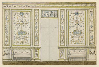 A long side wall with a door frame between two wall panels which show grotesque decoration and sofas standing in the central section of the dados.