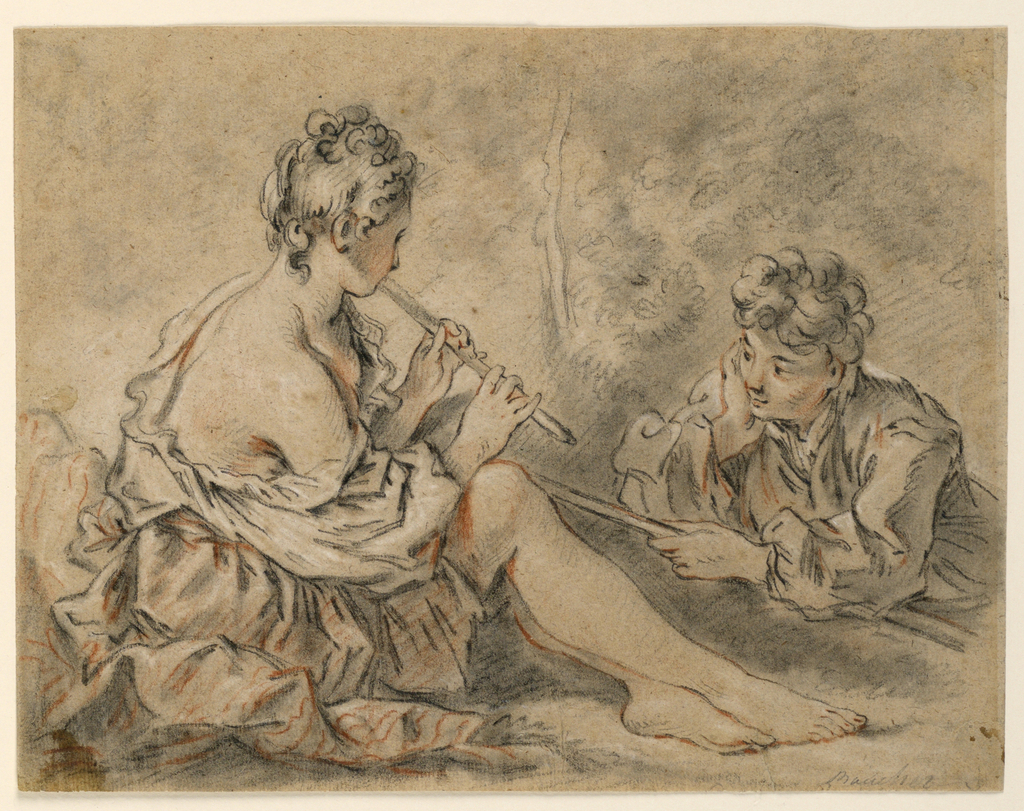 """A seated shepherdess, seen from the right back, plays on a pipe to a young shepherd, seen frontally, lying on the ground on his stomach, crook in his right hand. Inscribed, lower right: """"Boucher.""""  On the reverse is a sticker inscribed """"Estate of Robert W. Weir, No.1920."""""""